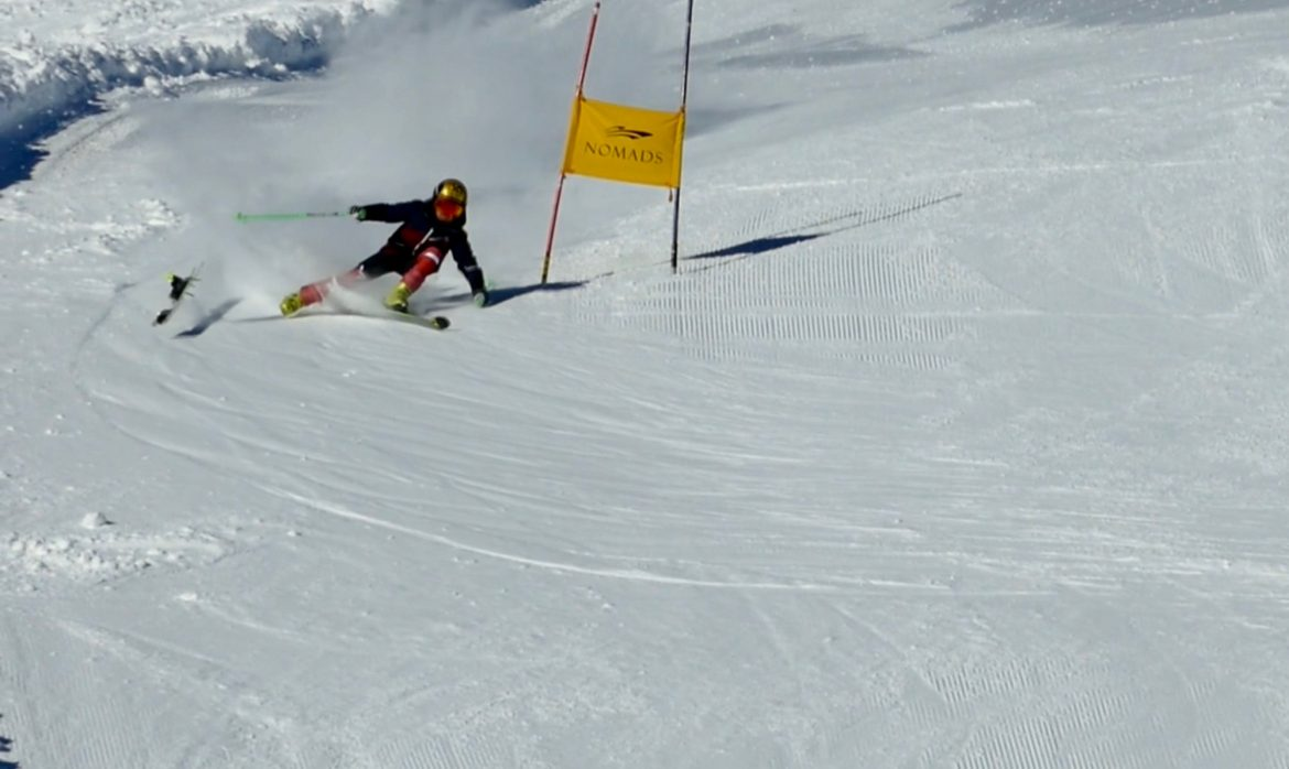 ski racing in grimentz giant slalom